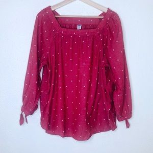 Old Navy Pink Dot Print Tunic Blouse